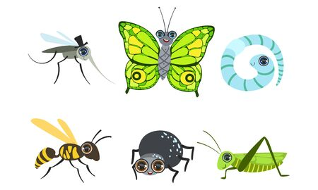 Collection of Cute Funny Cartoon Insects Set, Mosquito, Butterfly, Caterpillar, Wasp, Grasshopper, Spider, Worm Vector Illustration Illustration