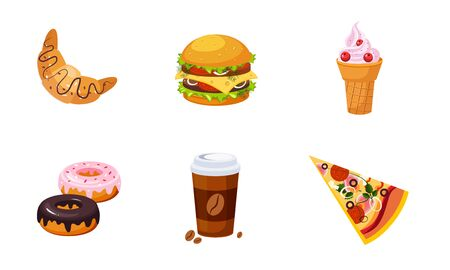 Fast Food Dishes, Drink and Dessert Set, Croissant, Ice Cream, Burger, Donut, Coffee, Pizza Vector Illustration
