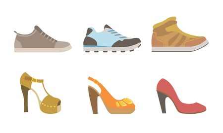 Collection of Male and Female Shoes, Side View Vector Illustration Illustration