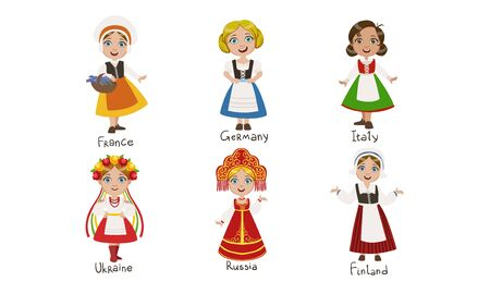 Kids in Traditional Costumes Set, France, Germany, Italy, Ukraine, Russia, Finland Vector Illustration