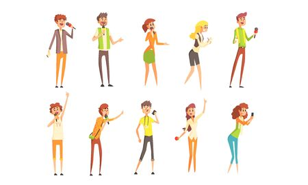 Professional Journalists Characters Set, Male and Female Reporters with Microphones Vector Illustration