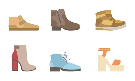 Male and Female Shoes Set, Footwear for Different Seasons Vector Illustration