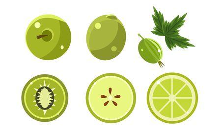 Green Fruits and Berries Set, Lime, Apple, Gooseberry, Olive, Kiwi Vector Illustration Illusztráció