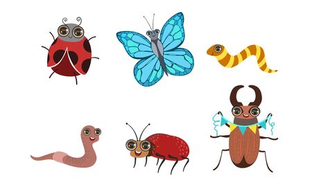 Collection of Cute Funny Cartoon Insects Set, Caterpillar, Butterfly, Ladybug, Earthworm, Deer Beetle Vector Illustration Illustration