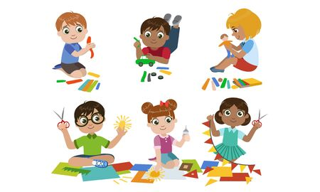 Creative Kids Set, Cute Boys and Girls Cutting with Scssors, Modelling from Plasticine, Childrens Education, Development Vector Illustration Standard-Bild - 129711304