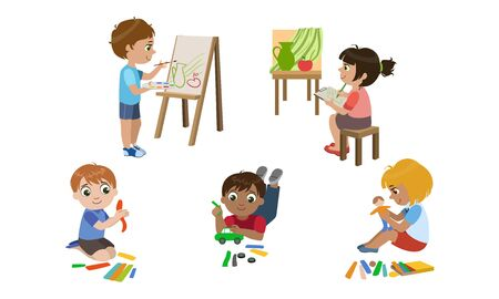 Creative Kids Set, Cute Boys and Girls Painting, Modelling from Plasticine, Childrens Education, Development Vector Illustration Stock Illustratie