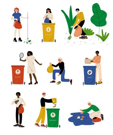 Young Men and Women Picking Up Litter Set, People Gathering and Sorting Waste for Further Processing Vector Illustration