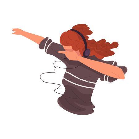 Fille écoutant de la musique avec des écouteurs, fille utilisant l'illustration vectorielle d'un appareil mobile