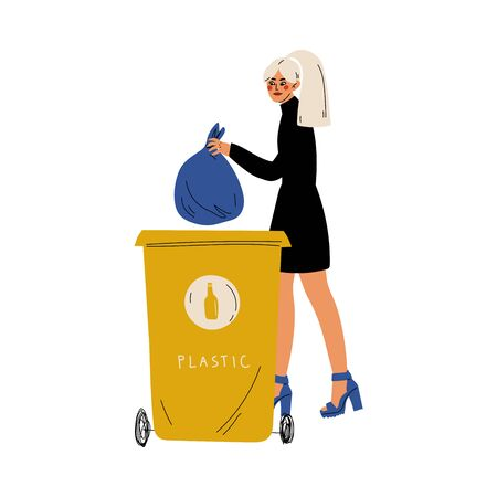 Young Woman Holding Trash Sack of Plastic Waste Near Garbage Container, Girl Throwing Plastic Bag into Trash Bin, People Sorting Waste for Further Processing Vector Illustration