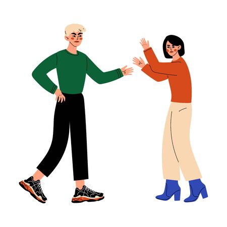 Couple Arguing and Yelling on Each Other, Disagreement in Relationship, Negative Emotions Vector Illustration