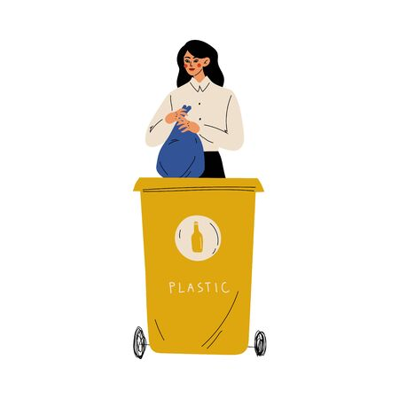 Woman Throwing Plastic Waste into Garbage Container, Girl Sorting Waste for Further Processing Vector Illustration