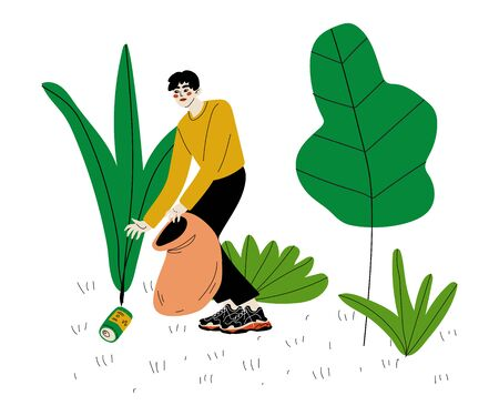 Man Gathering Garbage and Plastic Waste for Recycling, Male Volunteer Picking Up Litter in Park, Volunteering, Ecological Lifestyle Vector Illustration  イラスト・ベクター素材