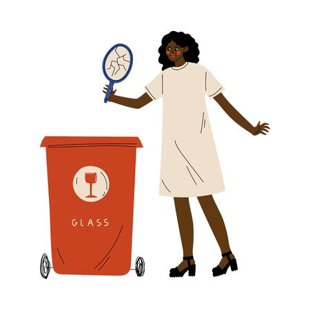 African American Woman Throwing Glass Waste into Garbage Container,Girl Sorting Waste for Further Processing Vector Illustration