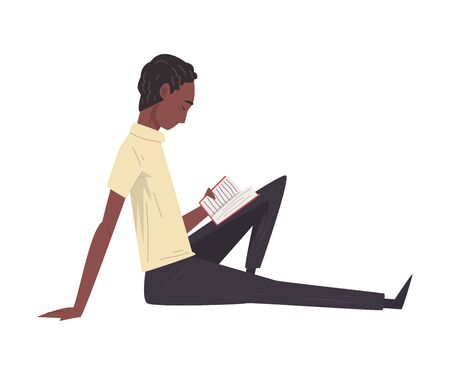 Young African American Man Sitting on Floor and Reading Book Vector Illustration