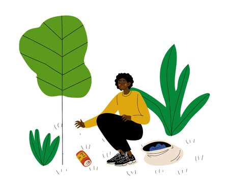 African American Man Gathering Garbage and Plastic Waste, Male Volunteer Picking Up Litter in Park, Volunteering, Ecological Lifestyle Vector Illustration