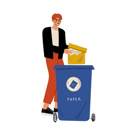 Young Man Throwing Paper Waste into Garbage Container, Guy Sorting Waste for Further Processing Vector Illustration