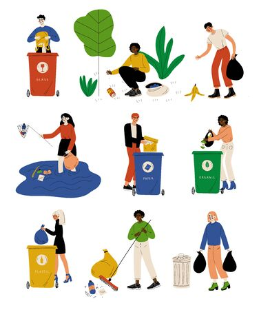 Young Men and Women Picking Up Litter Outdoors Set, People Gathering and Sorting Waste for Further Processing Vector Illustration