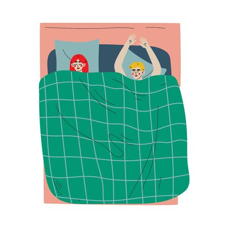 Couple Sleeping in Bed Together Under Blanket, View From Above Vector Illustration Illustration