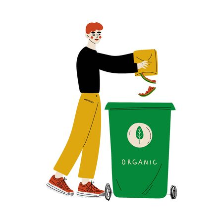 Young Man Throwing Organic Waste into Garbage Container, Guy Sorting Waste for Further Processing Vector Illustration  イラスト・ベクター素材