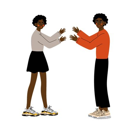Young African American Couple Quarreling, Disagreement in Relationship, Negative Emotions Vector Illustration