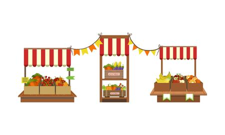 Market Stand with Fresh Farm Vegetables and Fruits in Crates Set Vector Illustration