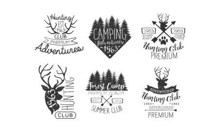 Hunting Club, Adventures Premium Retro Labels Set, Forest Camp, Summer Club Emblems Vector Illustration