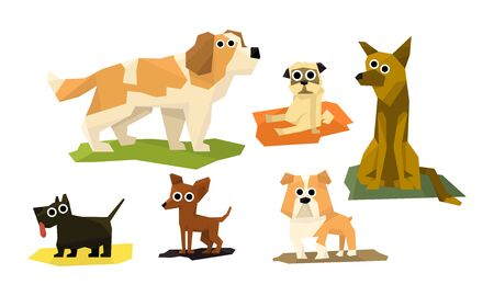 Cute Funny Dogs of Different Breads Set, Adorable Pet Animals Characters Vector Illustration