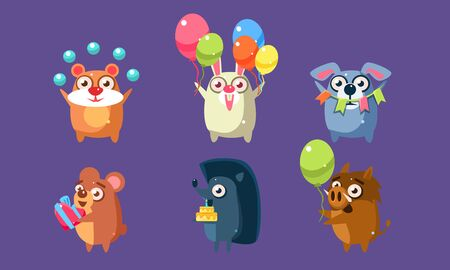 Funny Animal Characters Having Fun at Birthday Party Set, Cute Stickers with Baby Animals, Hamster, Rabbit, Dog, Bear, Hedgehog, Wild Boar Vector Illustration, Web Design.