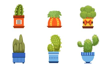Cactus Plants in Pots Set, Potted Cactuses and Succulents Houseplants Vector Illustration  イラスト・ベクター素材