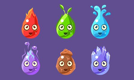 Funny Glossy Shapes Characters Set, Cute Colorful Nature Elements Interface Assets for Mobile App or Video Game Vector Illustration, Web Design.