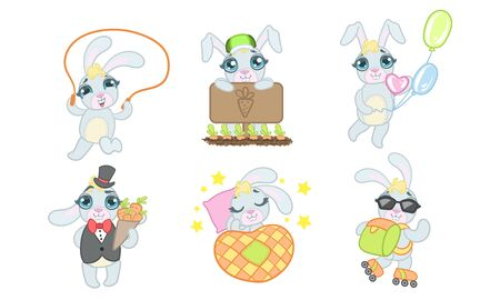 Adorable Bunny Cartoon Character Set, Cheerful Lovely Animal in Different Situations Vector Illustration on White Background.