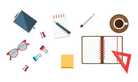 Office Worker Workplace Elements Set, Freelancer, Businessman Desk Top View Vector Illustration