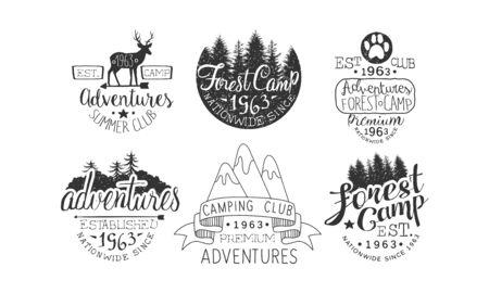 Forest Camp Premium Retro Labels Set, Camping Club, Summer Adventures Emblems Vector Illustration  イラスト・ベクター素材