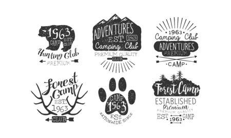 Hunting Club, Adventures Premium Retro Labels Set, Forest Camp Emblems Vector Illustration