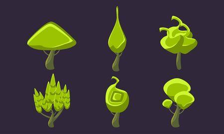 Cute Fantasy Green Trees Set, Fantastic Landscape Elements, Game Ui Scenics Vector Illustration