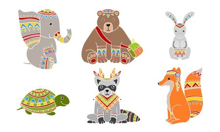 Ethnic Patterned Animals Set, Elephant, Bear, Rabbit, Turtle, Fox, Raccoon Vector Illustration