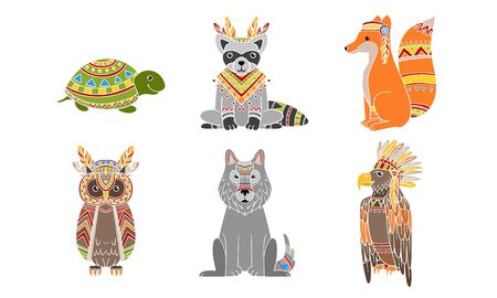Ethnic Patterned Animals Set, Fox, Owl, Wolf, Turtle, Fox, Raccoon Vector Illustration