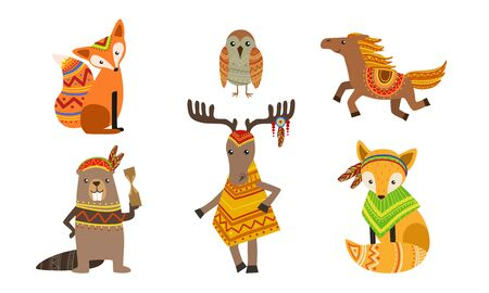 Ethnic Patterned Animals Set, Fox, Owl, Horse, Beaver, Deer Vector Illustration