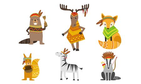 Ethnic Patterned Animals Set, Horse, Beaver, Squirrel, Zebra, Raccoon, Deer Vector Illustration