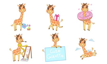 Cute Adorable Giraffe Character Set, Cheerful Lovely Animal in Different Situations Vector Illustration