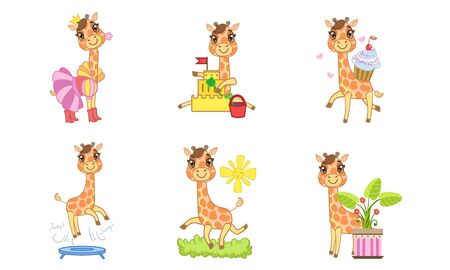 Cute Giraffe Cartoon Character Set, Adorable Animal in Different Situations Vector Illustration 일러스트