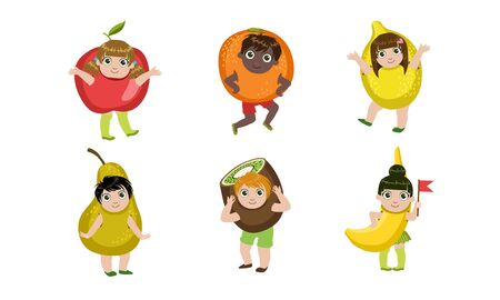 Cute Little Kids Dressed As Fruits Set, Apple, Orange, Lemon, Pear, Kiwi, Banana Vector Illustration