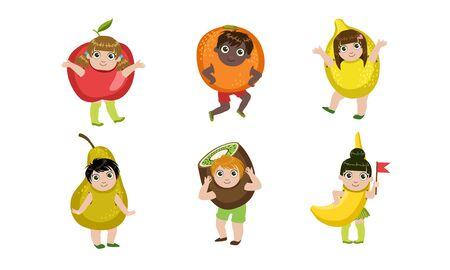 Lindos niños disfrazados de frutas, manzana, naranja, limón, pera, kiwi, ilustración vectorial de plátano