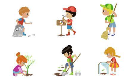 Kids Volunteers Set, Children Gathering Plastic Waste, Planting Trees, Sweeping Street Vector Illustration Illustration