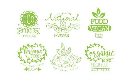 Natural Fresh Food Premium Green Labels Set, Gmo Free, Organic Vegan Product Vector Illustration