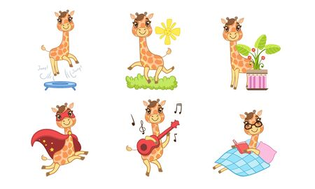 Cute Giraffe Cartoon Character Set, Adorable Cheerful Animal in Different Situations Vector Illustration