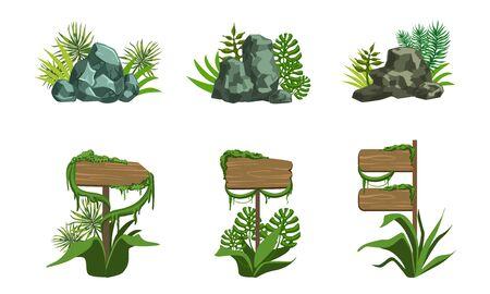 Wooden Signboards and Rock Stones Set, Tropical Landscape Design Elements Vector Illustration