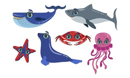 Cute Sea Creatures Collection, Ocean Animals and Fishes, Whale, Shark, Seal, Crab, Octopus, Starfish Vector Illustration