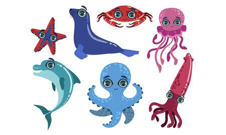 Cute Sea Creatures Collection, Ocean Animals and Fishes, Dolphin, Seal, Crab, Octopus, Starfish, Squid Vector Illustration Иллюстрация
