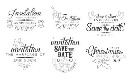 Invitation for the Event, Save the Date Monochrome Badges Set, Wedding, Christmas Party Design Element Hand Drawn Vector Illustration